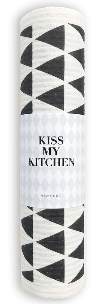 Kiss My Kitchen Schwammtuch-Rolle Dreieck  Black/White