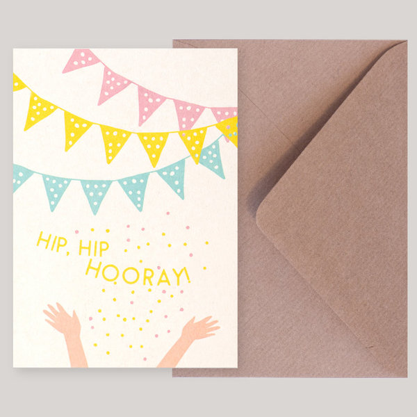 Souci-Illustration Postkarte / Hip Hip Hooray