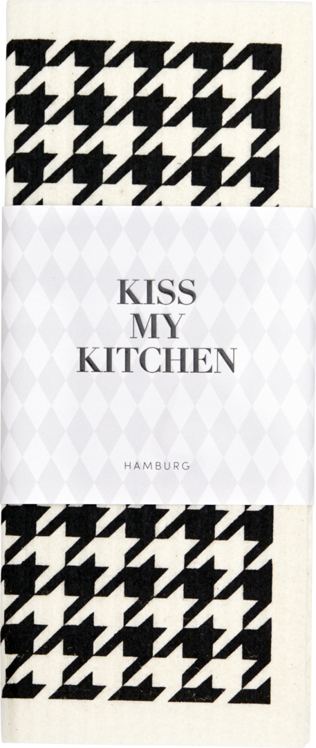 Kiss My Kitchen Schwammtuch Hahn Black White