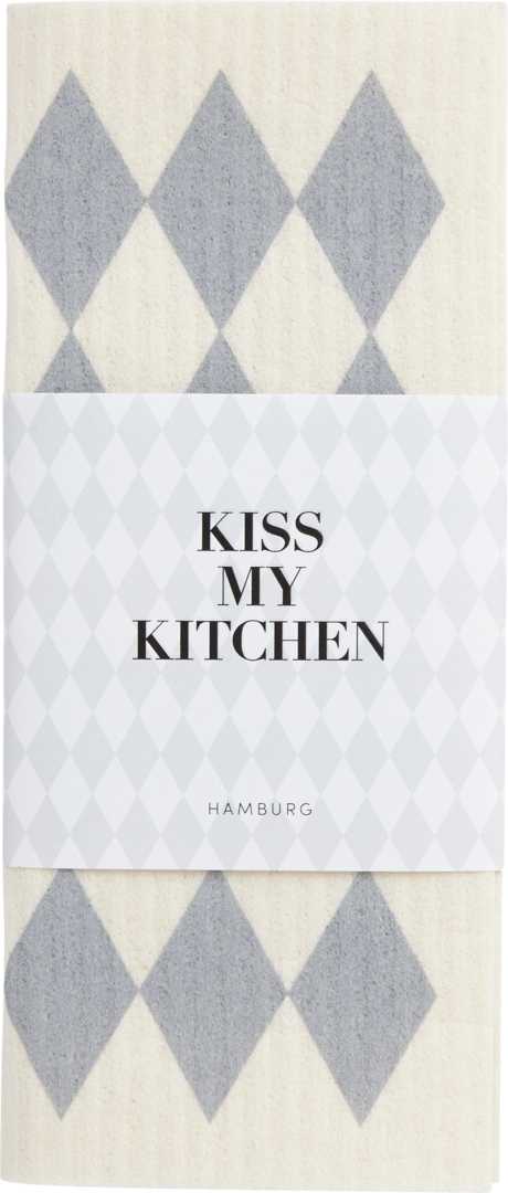 Kiss My Kitchen Schwammtuch Raute White Grey